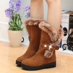 Women Winter Suede Boots with Fur