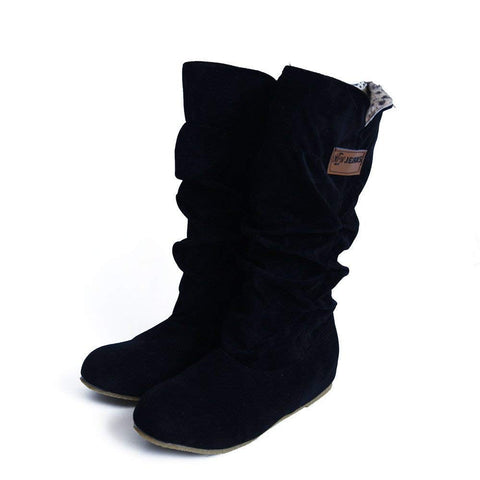 Womens Winter Snow Boots | MidCalf Slouchy Boot Shoes | High Tube Flat Riding Winter Boots