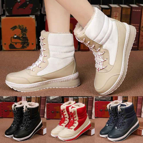 Women Winter Snow Mid-Calf PU Boots