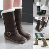 Winter Women Keep Warm Snow Boots Suede Martin Boots Shoes Buckle Strap Boots