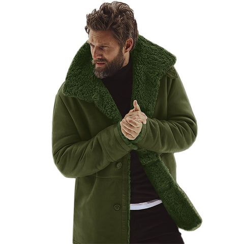 Men's Winter Warm Sheepskin Long Coat