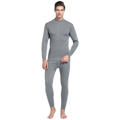 Men's Casual Thermal Underwear Middle Collar Pure Color Warm Clothing Suit