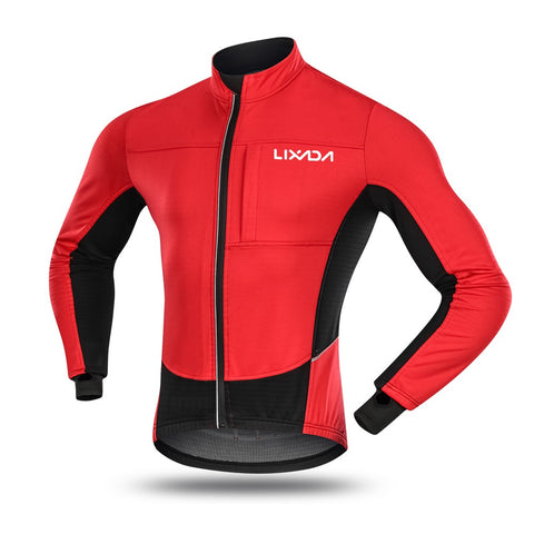 Lixada Men's Windproof Cycling Jacket Winter Thermal Polar Fleece MTB Bike Bicycle Riding Running Clothing Sportswear Jacket Coat