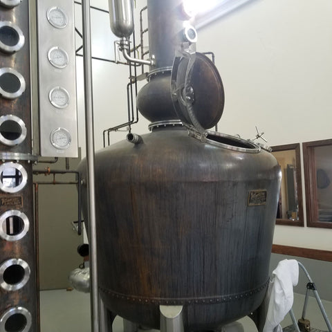 Pot Still Next to a Fractionating Column at Frey Ranch Estate Distillery