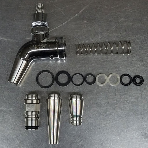 Intertap Stainless Steel Faucet Kit with ball lock, growler fill and stout attachements