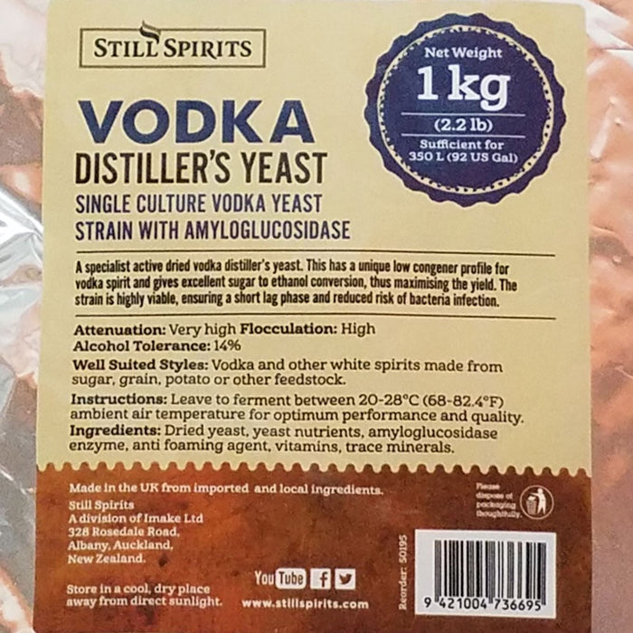 Still Spirits Distillers Vodka Yeast 1 kg Bulk Package