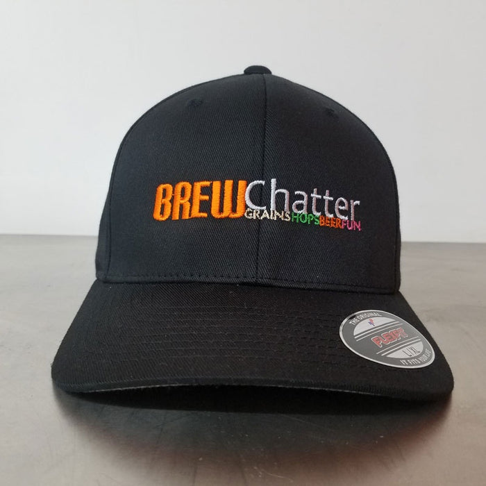 BrewChatter Mens Flexfit Black Hat, BrewChatter Apparel - BrewChatter HomeBrew Supply