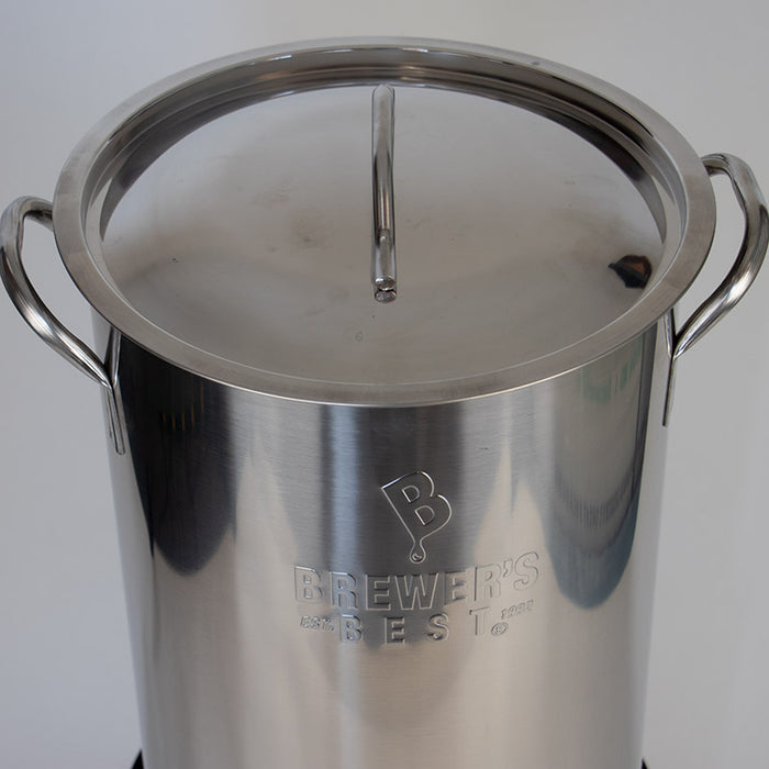 16 gallon top view with lid Home Brewing kettle stainless steel 2 port welded