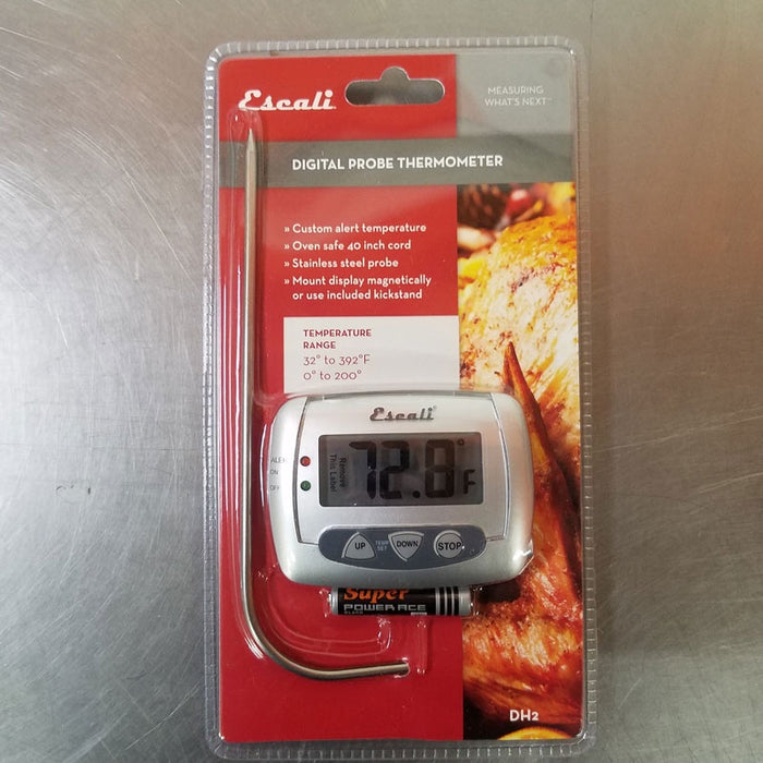 digital thermometer, cooking meat, iced water, stainless steel, temperature reading, set temperature, medium rare, digital kitchen