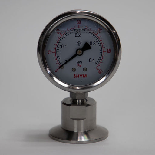 "1.5"" Tri-Clover Tri Clamp Pressure Gauge for Sanitary Pressure readings and transfers"