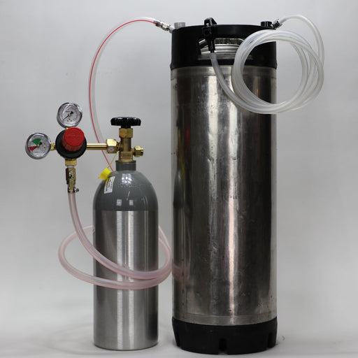 Used Corny Ball Lock Kegging Kit Premium with all connections, keg and co2 tank with regulator