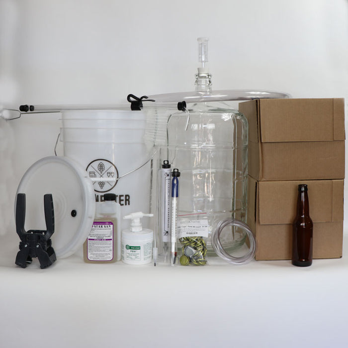 5 Gallon Premium Beer Making Equipment Kit with Glass Carboy