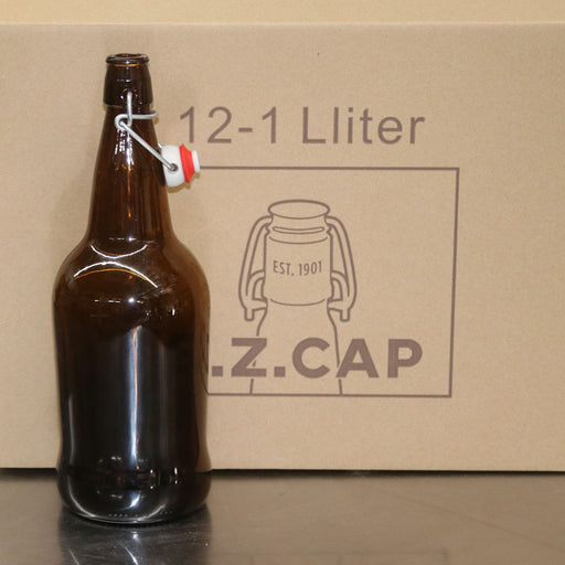 1 Liter Amber EZ Cap Brand Flip Top Bottle, Case of 12
