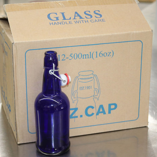 500 mL 16.9 oz Blue EZ Cap Brand Flip Top Bottles Case of 12