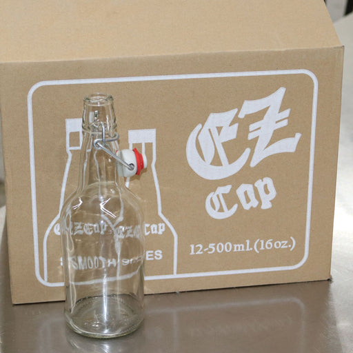 500 mL 16.9 oz Clear EZ Cap Brand Flip Top Bottles Case of 12