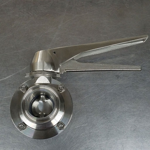"1.5"" Tri-Clover Butterfly Valve with Squeeze Trigger, Stainless Hardware - BrewChatter HomeBrew Supply"