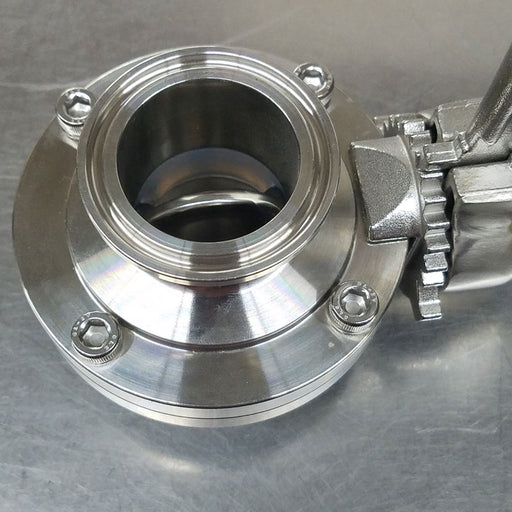 "Stainless Steel 1.5"" Tri-Clover Butterfly Valve with Squeeze Trigger"