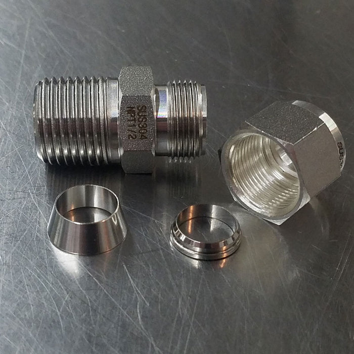 "1/2"" MNPT x 1/2"" Compression Fitting Stainless Steel"
