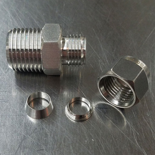 "Stainless Steel Compression Fitting 1/2"" MNPT x 3/8"" Compression"