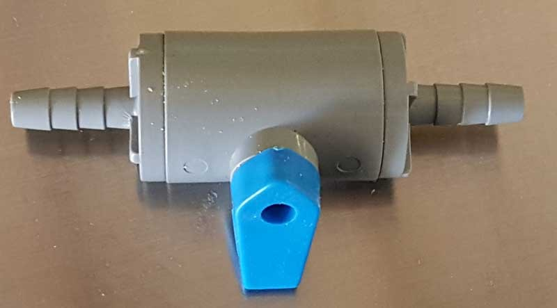 "Plastic Shut Off Valve with 1/4"" Barbs"