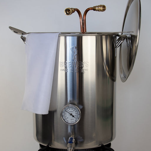 Stainless Steel Brew Pot with Welded Ports - 16 Gallon with lid for mashing and boiling your home brew
