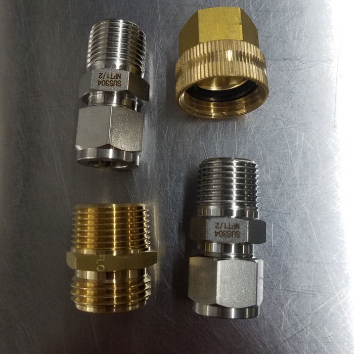 "Chiller, wort chiller, hardware, stainless, chiller set up kit, robobrew setup, chiller starter kit, brass, stainless, ss 304, compression, compression fitting, 1/2"", 1/2 inch, 3/4"" Garden Hose fitting"