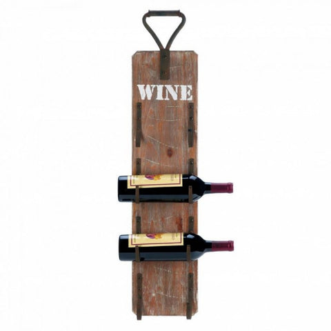 Wine Bottle Wall Rack With Metal Handle