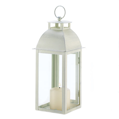 Distressed Ivory Candle Lantern