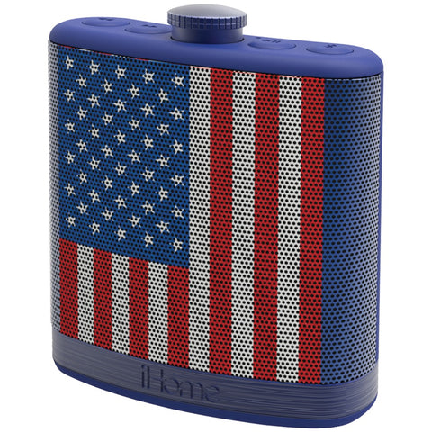Ihome Rechargeable Flask-shaped Bluetooth Stereo Speaker With Custom Sound Case (flag)
