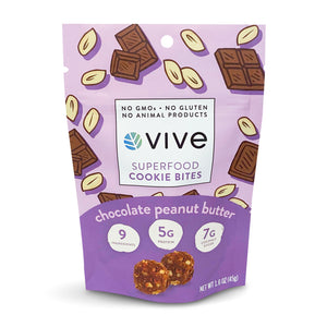Chocolate Peanut Butter Superfood Cookie  Bites - 12 pack