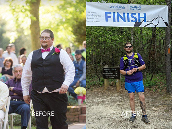Ryan Reeve. Before and after weight loss.