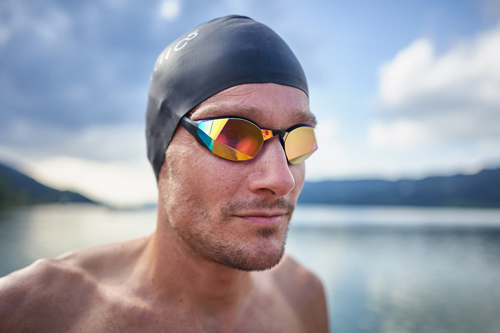 Jan Frodeno Wearing BLUE GOLD THEMAGIC5 Swimming Goggles
