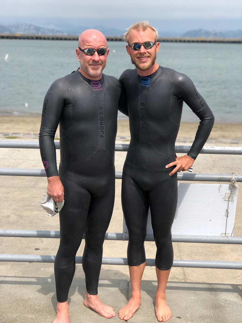 Ben and Mike Kanute before the start of the Escape from Alcatraz Triathlon