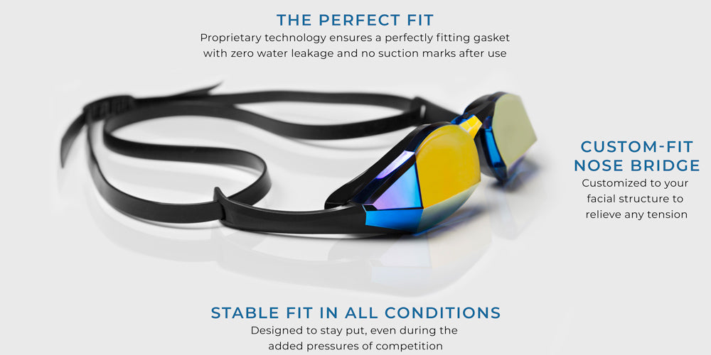 TheMagic5 Blue Magic Mirror Gold Goggles. The perfect fit: Proprietary technology ensures a perfectly fitting gasket with zero water leakage and no suction marks after use. Custom fit nose bridge: Customized to your facial structure to relieve any tension. Stable fit in all conditions: Designed to stay put, even during the added pressures of competition.
