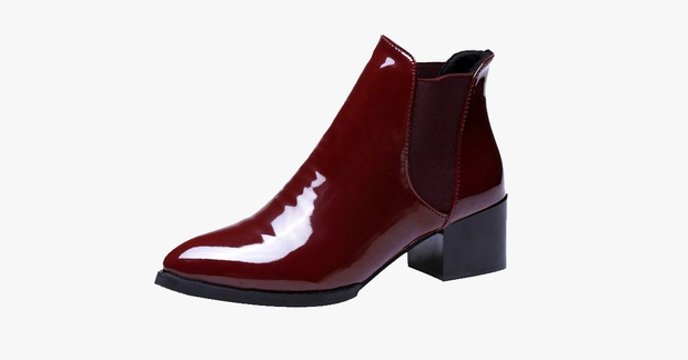 Glossy Ankle-Length Winter Boots