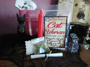 Cat Woman Strength & Empowerment Taper Candle Spell Kit
