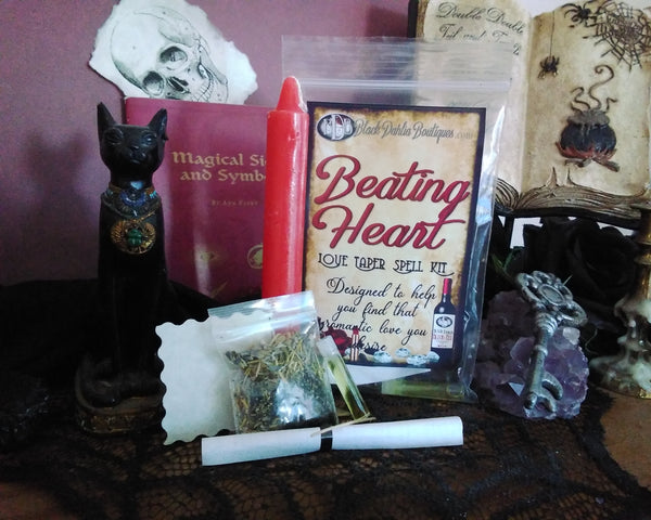 Beating Heart Love & Romance Taper Candle Spell Kit