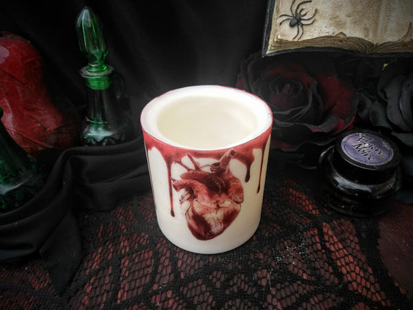 Blood Dripped Heart Wax Tea Light Holder