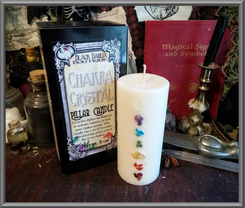 Chakra Crystal Candle for meditation