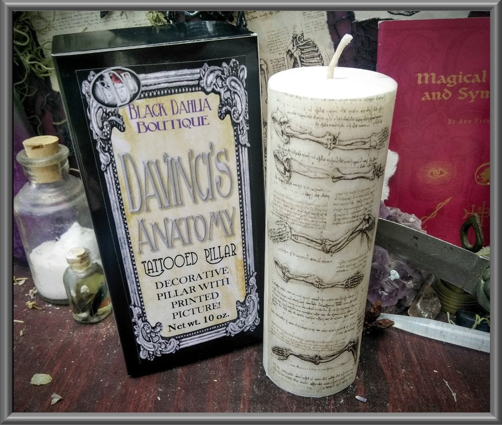 Skeleton Notes Gothic Pillar Candle