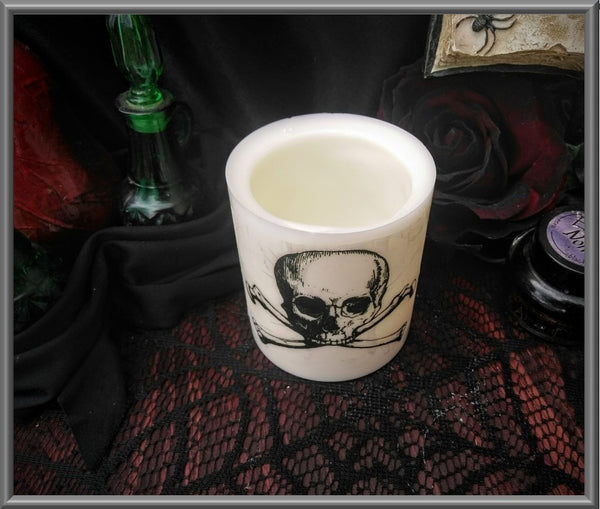 Skull & Crossbones Wax Tea Light Holder