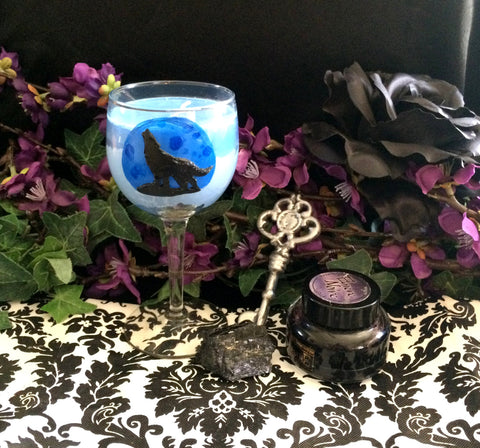 WOLF MOON Wine Glass Candle
