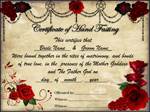 HANDFASTING & WEDDING Decorated Certificate