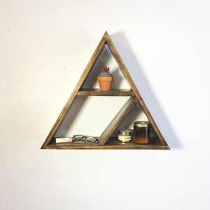 Pine Wood Geometric Triangle Split Shelf