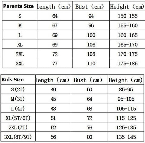 King, Queen, Prince, Princess Family Matching Shirts size chart