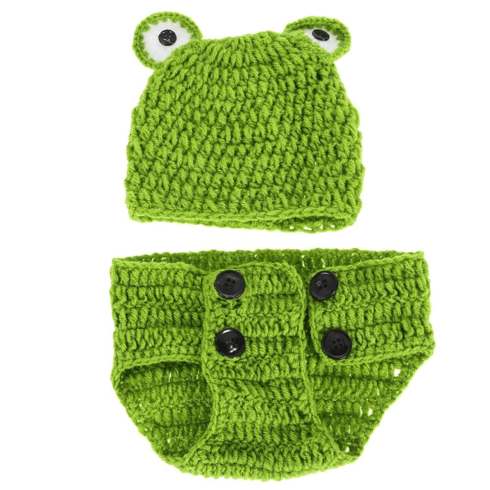 Baby Frog Costume - Frog Baby Crochet Outfit - Beanie+ Bloomer