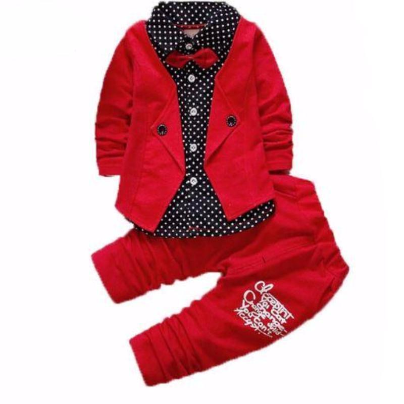 2 Pcs. Polka Dot Letter Print Patchwork Boys Suit Kids Now Apparel