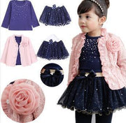 3 Pieces Flower Coat + Blue T Shirt + Tutu Skirt Girls Outfit Kids Now Apparel