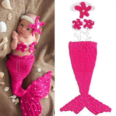 3 Sets Crochet Knit Mermaid Baby Photography Props Kids Now Apparel