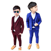 3pcs Kids Plaid Coat+Vest+Pants Boys Formal Wear Suits Kids Now Apparel